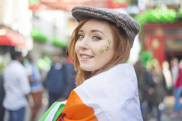Student on tour in Ireland celebrating St. Patrick's Day
